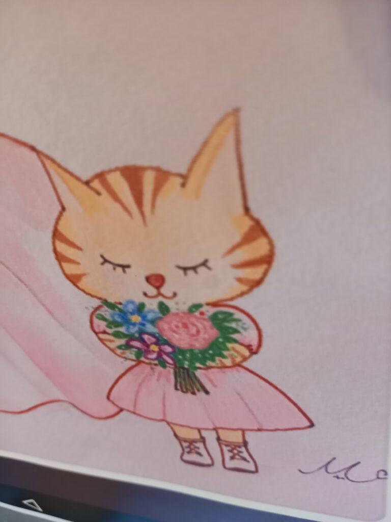 ピンクの服の子猫イラスト